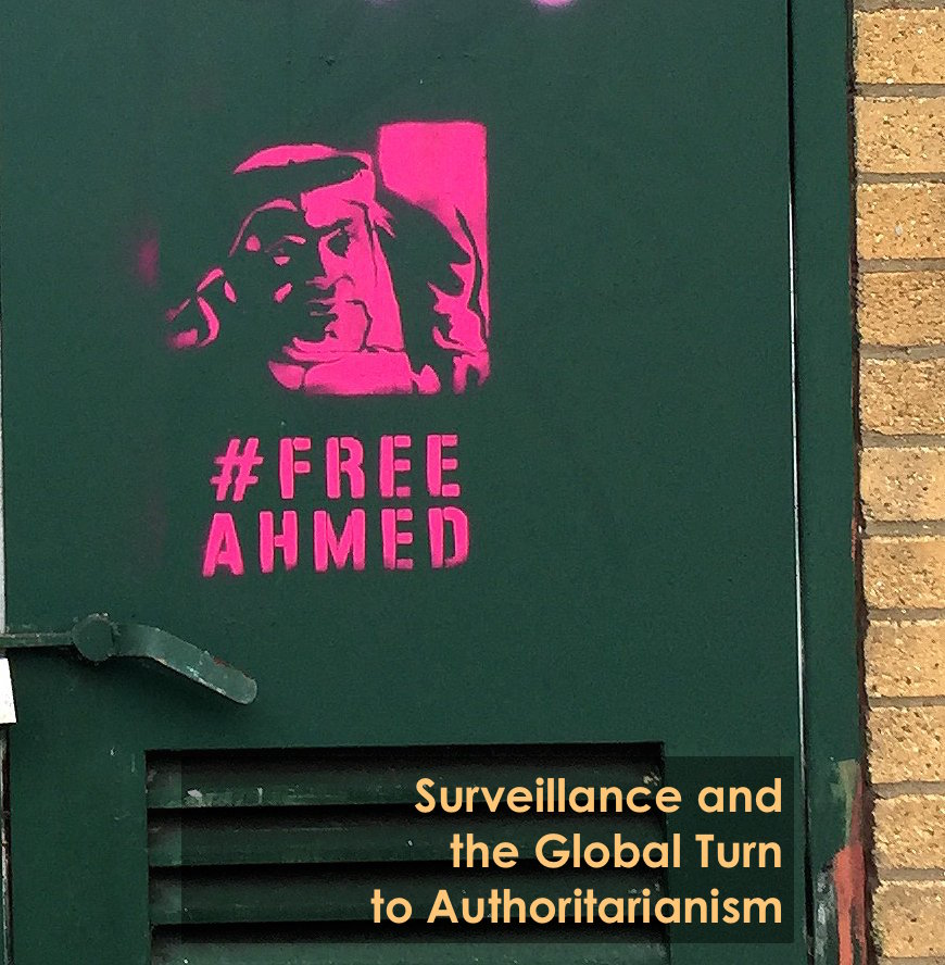 #FreeAhmed (Mansoor) stencil graffiti spotted in London, 2017. Photo: Manu Luksch.